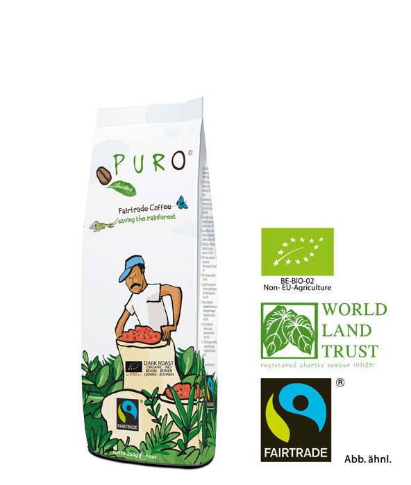 Puro Fairtrade Bio Dark Roast - Bohne 250 g
