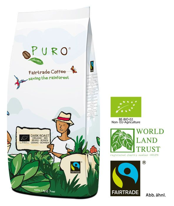 Puro Fairtrade Bio Dark Roast - Bohne 1.000 g