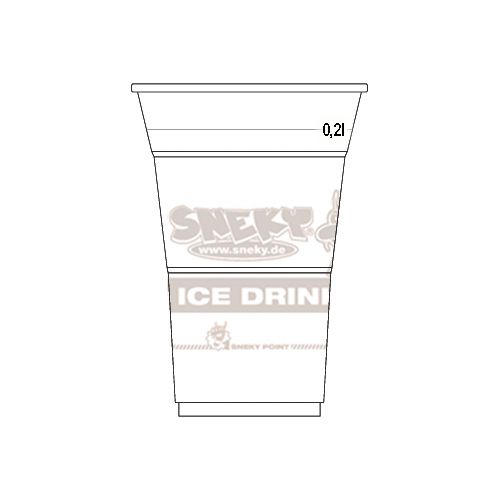 COLD DRINK CUP WITH SNEKY LOGO IMPRINT 200ml (transparent)