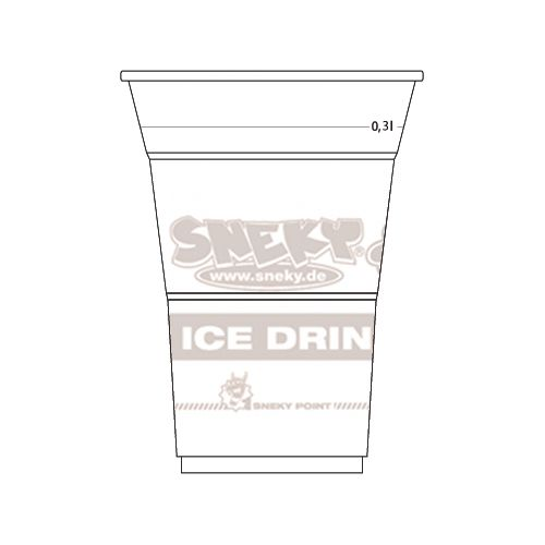 COLD DRINK CUP WITH SNEKY LOGO IMPRINT 300ml (transparent)
